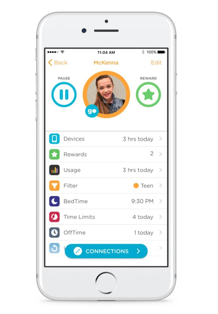 App View of Disney Circle Parental Control Device